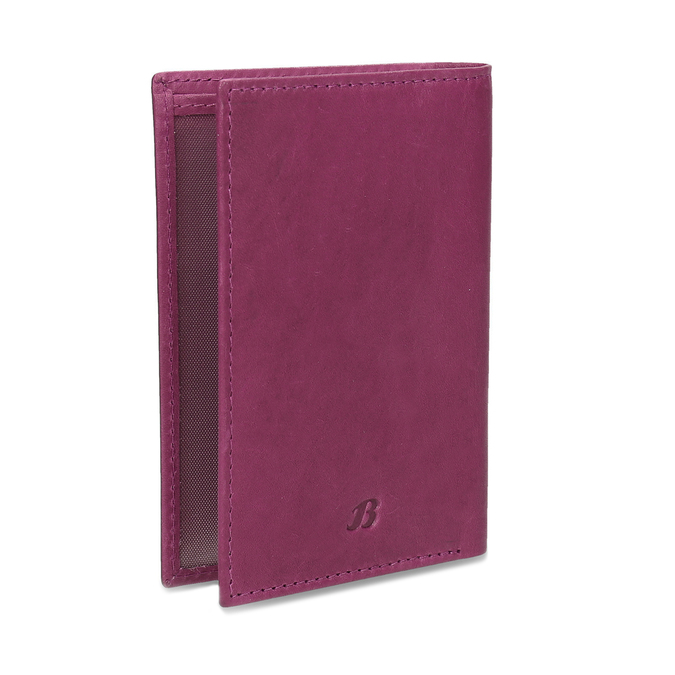 Leather document and card case, pink , 944-5158 - 13