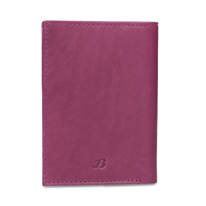 Leather document and card case bata, pink , 944-5158 - 26