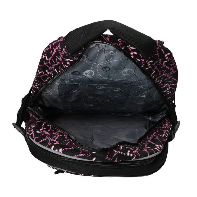 School backpack with a printed pattern bagmaster, black , 969-6602 - 17