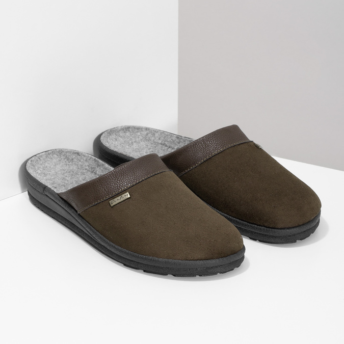 Men's slippers bata, brown , 879-4600 - 26