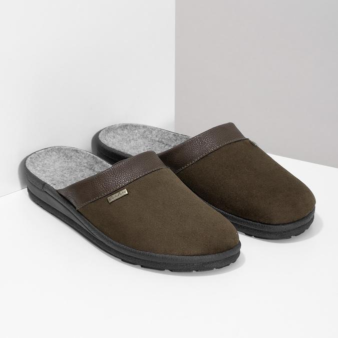 Men's slippers, brown , 879-4600 - 26