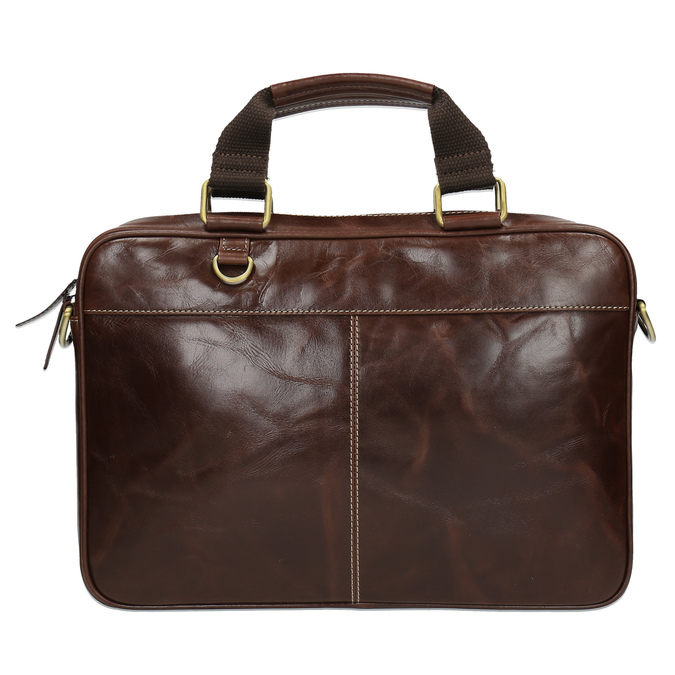 Men's leather satchel bata, brown , 964-4204 - 19