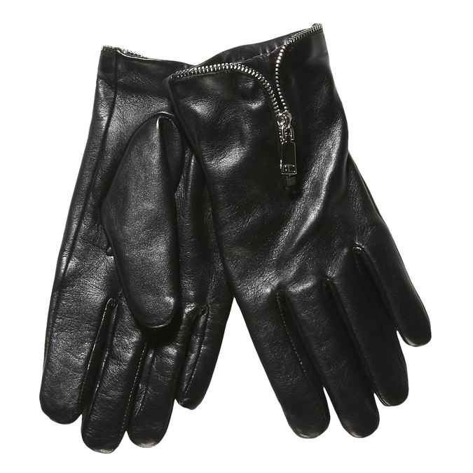 Ladies' leather gloves with a zipper bata, black , 904-6111 - 13