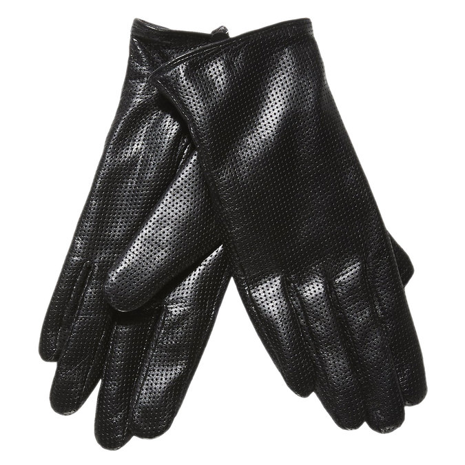 Ladies´ leather gloves with perforations bata, black , 904-6114 - 13