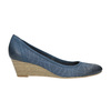 Perforated platform pumps bata, blue , 626-9638 - 15