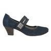 Blue leather pumps width H bata, blue , 623-9600 - 26
