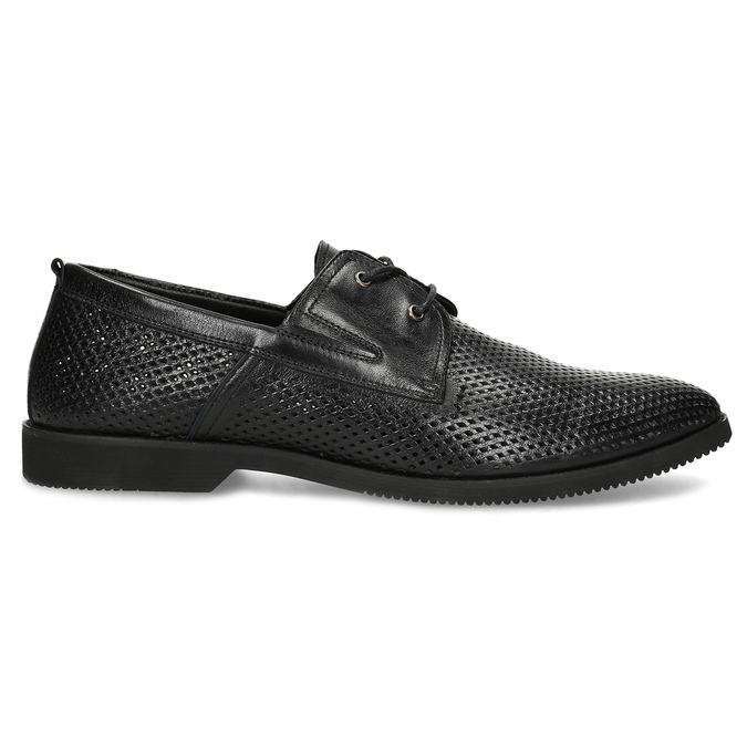 Leather shoes with perforations bata, black , 854-6601 - 19