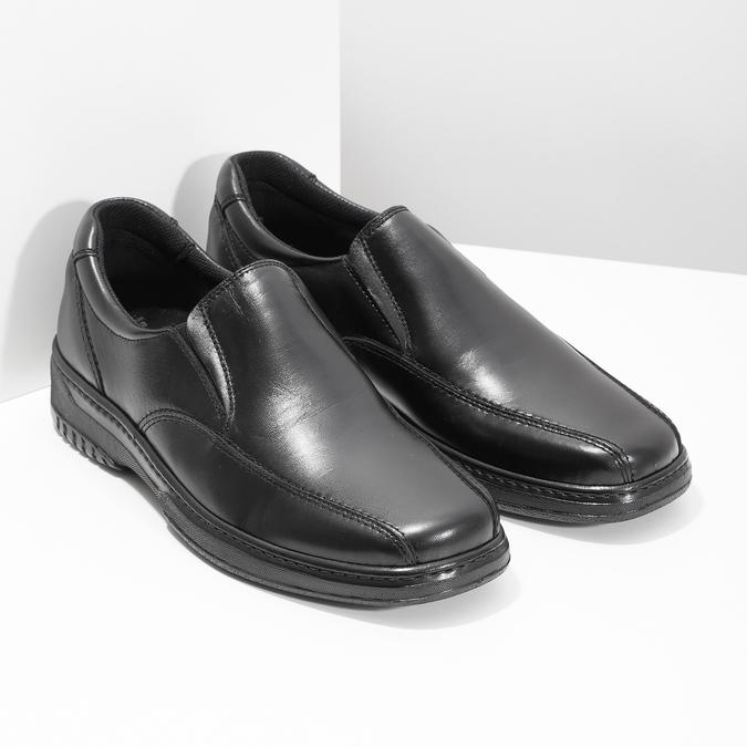 Men's leather moccasins, black , 814-6622 - 26