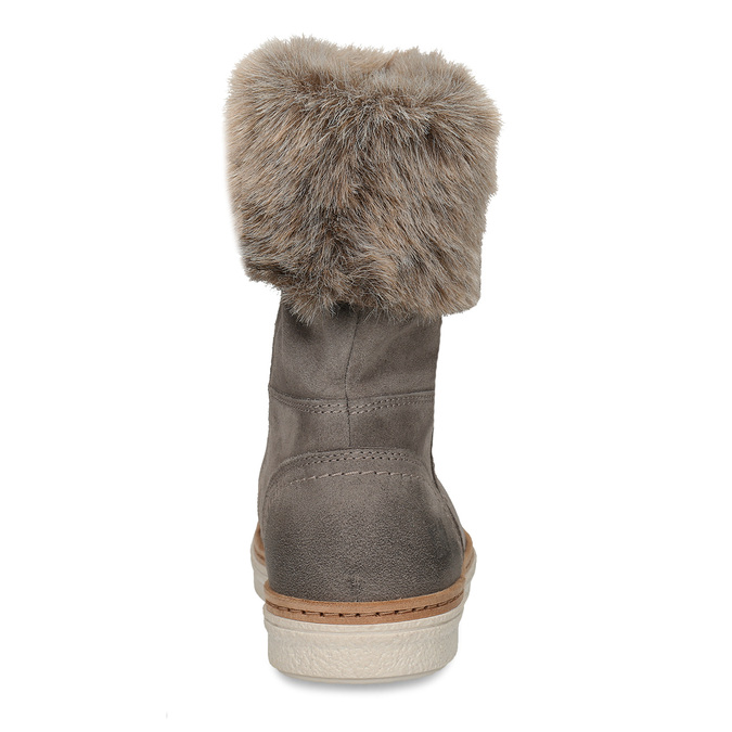 Leather winter shoes with fur weinbrenner, gray , 596-2633 - 15