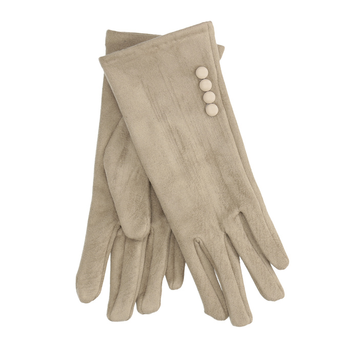 Ladies' Textile Gloves with Buttons bata, beige , 909-8612 - 13