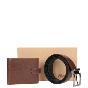 Gift pack with leather belt and wallet bata, brown , 954-4200 - 13
