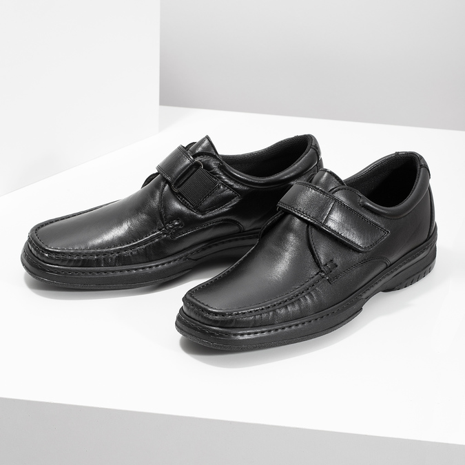 Men's leather shoes with Velcro pinosos, black , 824-6543 - 16