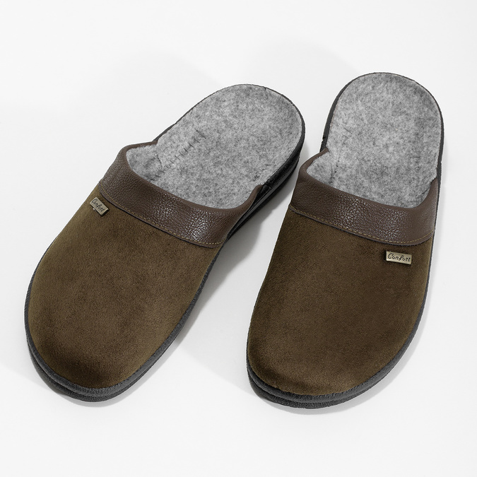 Men's slippers, brown , 879-4600 - 16