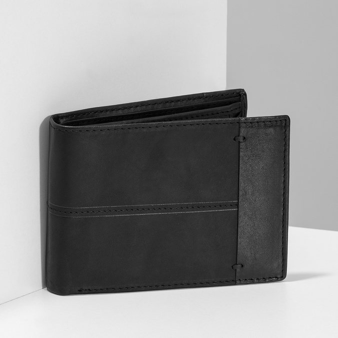 Men's leather wallet bata, black , 944-6188 - 17